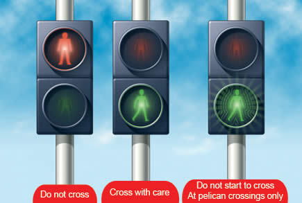 Pedestrians at traffic lights