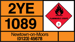Vehicle carrying flammable liquid
